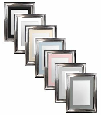 Firenza Chrome Picture Photo Frames & White Black Ivory Blue Pink or Grey Mounts