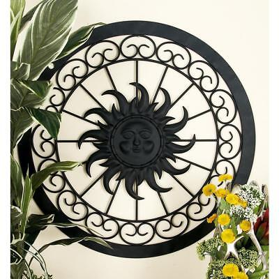 Metal Wall Decor Sculpture Rustic Sun Face Round Framed Iron Scroll Traditional