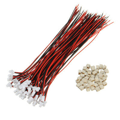 Excellway 100Pcs Mini Micro JST 1.0mm SH 2-Pin Connector Plug With Wires Cables