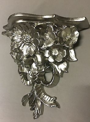 Wall Console Antique Silver Baroque Table Decorative Flowers 28x12 Mirror C81