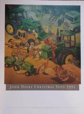 """LARGE 24"""" x 18"""" John Deere Christmas Toys Poster 1991 NM CONDITION!"""