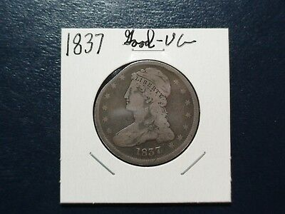 1837 CAPPED BUST HALF DOLLAR 50C Coin Auction Starts At 99 Cents!
