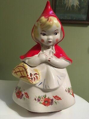 Vintage Little Red Riding Hood Hull Pottery Open Basket Cookie Jar