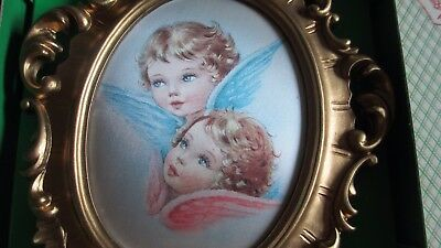"Vintage Reuge Wall Plaque Music Box  Angels on Silk ""Brahams Lullaby"" NOS"