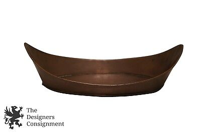 Antique Copper Relish Condiment Serving Dish Ca. 1870 Boat Canoe Shaped 11""