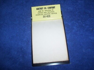 Vintage Hartney Oil Co. Chicago IL Advertising Mini Clipboard Metal