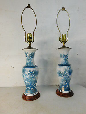 Pair Asian Style Mid Century Porcelain & Wood Ginger Jar Table Lamps Blue White
