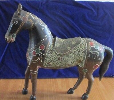 Antique Hand Carved  & Painted Solid Wood Horse Statue/Sculpture