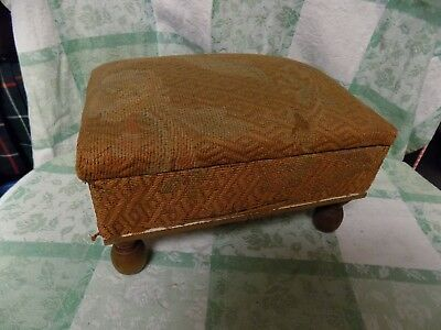 "Antique Vintage  Footstool 10X8X6"" Sewing Box Storage Lid Foot Stool"