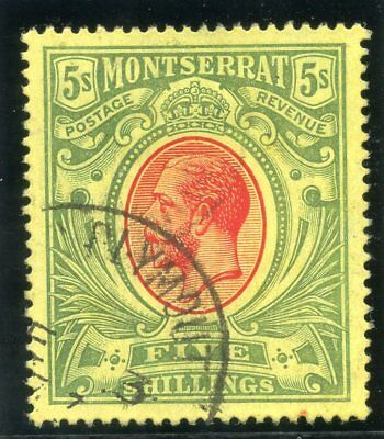 Montserrat 1914 KGV 5s red & green/yellow very fine used. SG 48. Sc 42.