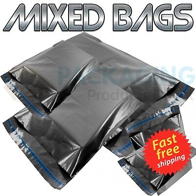 MIXED SIZES Grey Postal Bags Mailing Mail Parcel Post Plastic Strong Poly