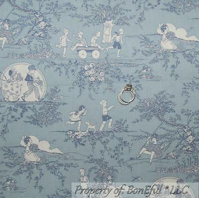 BonEful Fabric Cotton Quilt VTG Blue White Boy Girl Toile Shabby Chic Sale SCRAP