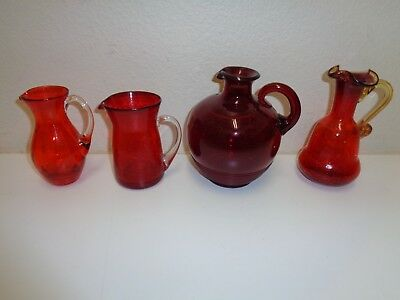 Vintage Lot Red Glass Pitchers Ruby Crackle ++