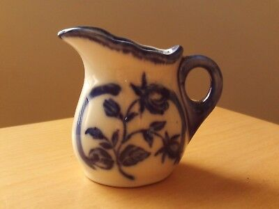 "Vintage Staffordshire Blue & White Floral Ironstone Pottery Jug ~ 2 3/4"" High"