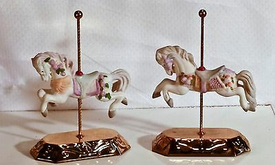 VINTAGE Pair of Carousel  Jumping Horses by GIFTEO 1989 Ceramic with metal base