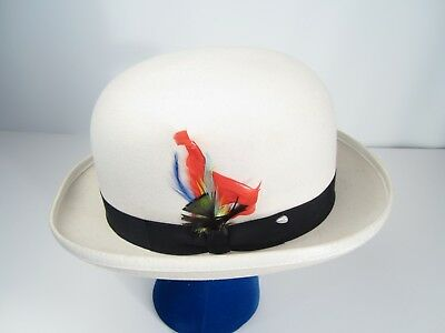Vintage Dorfman Pacific White Bowler Derby Mens Hat Medium  Made in USA Feather