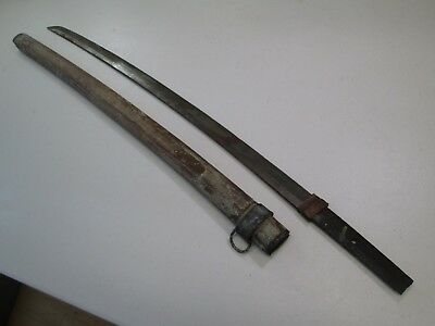 "Old Koto Japanese Samurai Katana Sword With Scabbard Unsigned Osuriagi 27"" Cutti"
