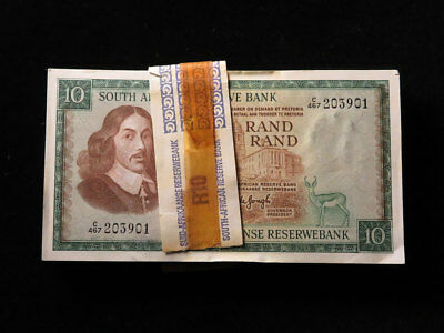 Bundle of 100x South Africa 10 Rand Banknotes 1970s