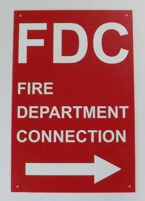 "FDC (Fire Department Connection) Sign, Heavy Duty Plastic, 18"" X 12"""
