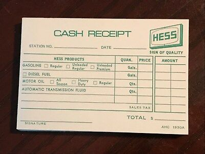 Hess Oil Gas Station Cash Receipts AHC 1930A Fuel, Petroleum