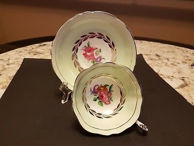 Vintage Paragon Cup & Saucer Double Gold Stamped Label Pink Rose Silver Filigree