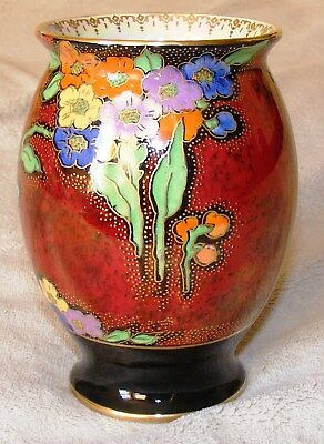 Stunning Vintage Crown Devon Hand Painted (Enamelled?) Rouge Vase