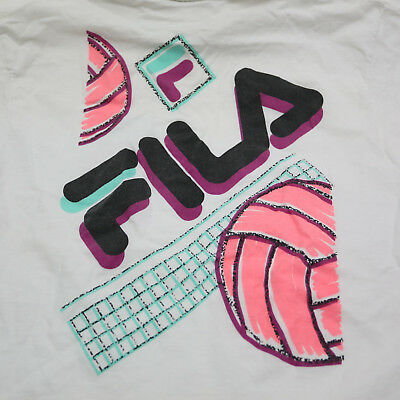 137669c2a7b3 FILA Men Large White Cotton Volleyball Graphic Tee Short Sleeve Athletic  T-Shirt