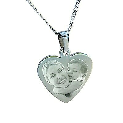 Personalised Photo Text Engraved Heart Pendant & Necklace - Valentine's day gift