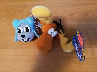 The Adventures of Rocky and Bullwinkle Plush Key Chains. Justoys. Lot of 2