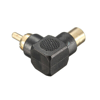 90 Degree Right Angle RCA Connector Plug Adapters Male To Female Audio Connector