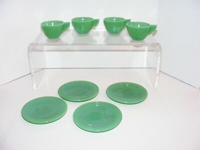 Vintage Akro Agate Child's Tea Set Plates and Cups in Green set of 4 ~~ NICE