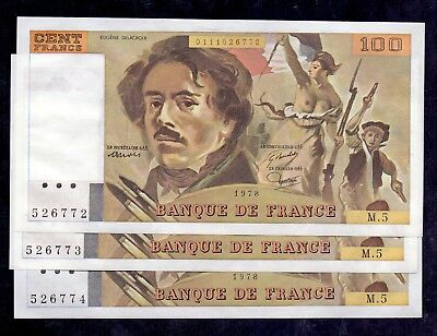 100 Francs Delacroix From France Unc 3 Pcs With Consecutive Numbers