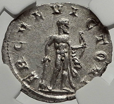AEMILIAN 253AD Rome Authentic Ancient Silver Roman Coin HERCULES NGC ChAU i66470