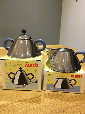 Blue Alessi Stainless Steel Creamer (Milk Jug) and Sugar Bowl By Michael Graves