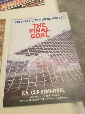 Excellent Condition FA Cup Semi Final Coventry v Leeds 1987.