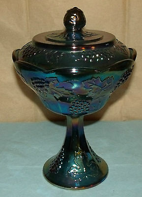 """Vintage Blue Carnival Glass Covered Compote / Candy Dish; Indiana Glass; 9 1/2"""""""