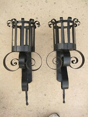 Large Pair Spanish Revival Gothic Medieval Castle Tuscan Mission Wall Sconce