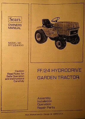 Sears FF/24 Garden Tractor, 3-POINT HITCH & PTO Owner & Parts Manual (4 BOOKS)