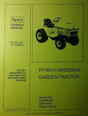 Sears FF/18 Garden Tractor, Loader & 3-POINT Hitch Owner & Parts (3 Manual) 66pg