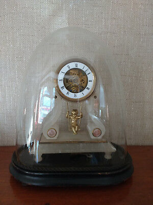 Antique Eugene Farcot Cherub Boudoir Clock - Circa 1870 in original glass dome