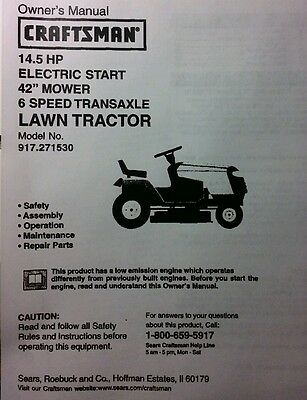 """Sears Craftsman 14.5 HP Lawn Riding Tractor & 42"""" Mower Owner & Parts Manual"""