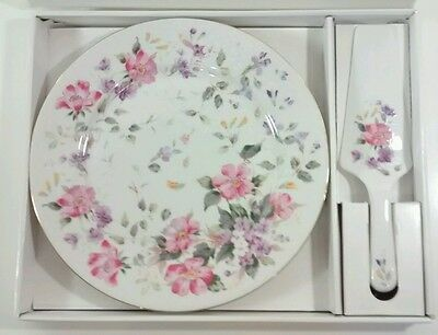 Andrea by Sadek Collectable Cake Server Plate In Pink Flowers New In Box Gift