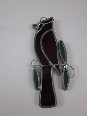 Leaded Stained Glass Window Hanger Sun Catcher Cardinal with 3 Leaves