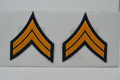 Pair CORPORAL CPL. Police Security Chevrons Stripes Patch Gold and Dark Blue