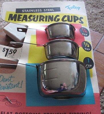 Vintage Foley Stainless Steel Measuring Cups NOS