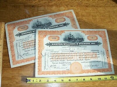 Antique Stock Certificate Gastron Williams Wigmore Shipping RR Freight NYC NoR