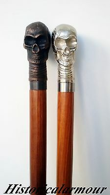 "38"" Vintage Antique Style Wood Victorian Walking Stick Cane SKULL HEAD TWO CANES"