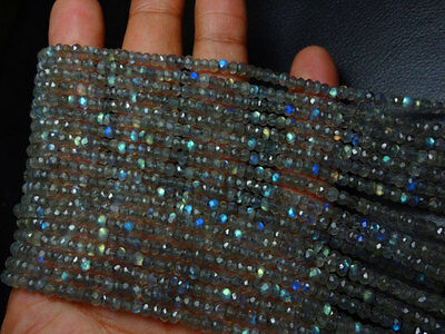 """100% Natural Labradorite Micro Faceted Roundel Beads 3.5 mm 13"""" Valentine Gift"""