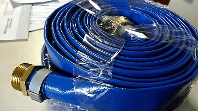 """1"""" X 25' Blue PVC Lay Flat Water Discharge Hose Assembly Abbott Rubber Co."""