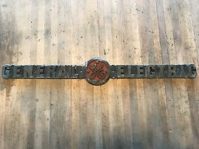"Rare Brass Bronze General Electric Plaque Vintage Name Plate 24"" Long GE Antique"